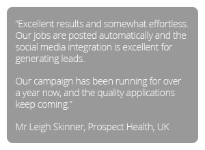 Testimonial - Our jobs are posted automatically and the social media integration is excellent for generating leads
